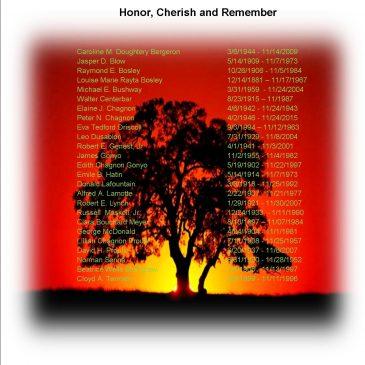 NOVEMBER MEMORIALS